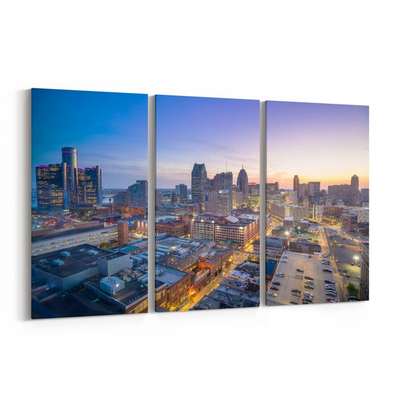 Detroit Skyline Canvas Detroit Canvas Print Michigan Multiple Sizes Wrapped Canvas on Wooden Frame