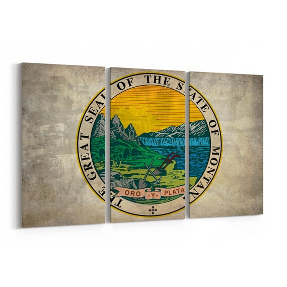 Montana State Seal Wall Art Canvas Montana State Seal Canvas Print Multiple Sizes Wrapped Canvas on Wooden Frame