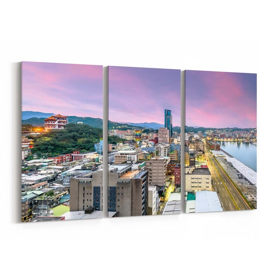 Keelung Skyline Wall Art Canvas Keelung Canvas Print Taiwan Multiple Sizes Wrapped Canvas on Wooden Frame