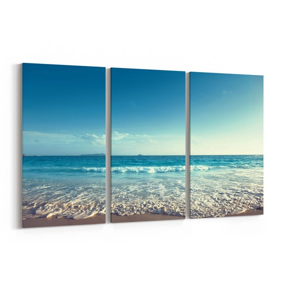 Beach Sunset Wall Art Canvas Beach Sunset Canvas Print Multiple Sizes Wrapped Canvas on Wooden Frame