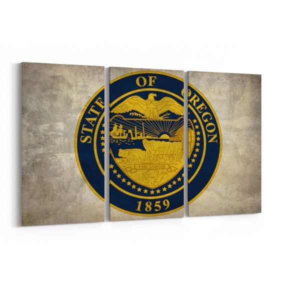 Oregon State Seal Wall Art Canvas Oregon State Seal Canvas Print Multiple Sizes Wrapped Canvas on Wooden Frame