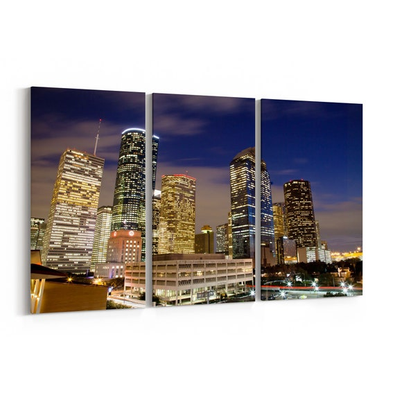 Houston Skyline Canvas Houston Canvas Print Multiple Sizes Wrapped Canvas on Wooden Frame
