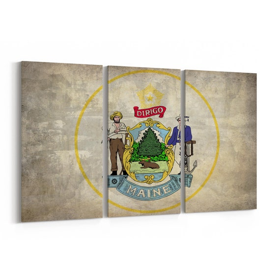 Maine State Seal Wall Art Canvas Maine State Seal Canvas Print Multiple Sizes Wrapped Canvas on Wooden Frame