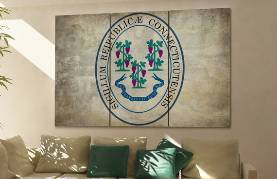 connecticut seal flag  canvas connecticut seal flag  wall decoration connecticut seal flag  canvas art large canvas