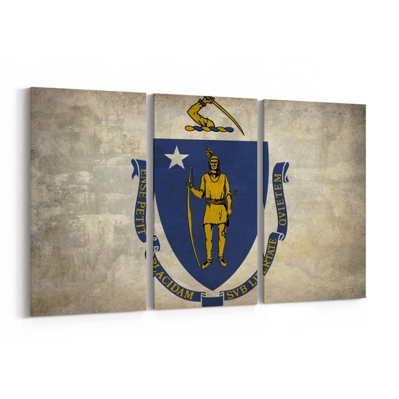 Massachusetts State Flag Canvas Print Massachusetts State Flag Wall Art Canvas Multiple Sizes Wrapped Canvas on Wooden Frame