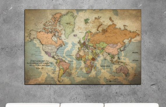 push pin travel map, vintage world map, old world map, vintage push pin map, vintage world map canvas, antique world map