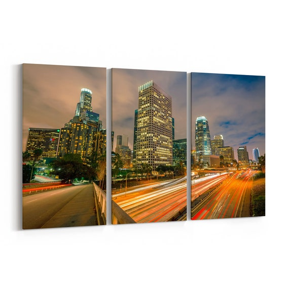 Los Angeles Skyline Wall Art Los Angeles Canvas California Multiple Sizes Wrapped Canvas on Wooden Frame