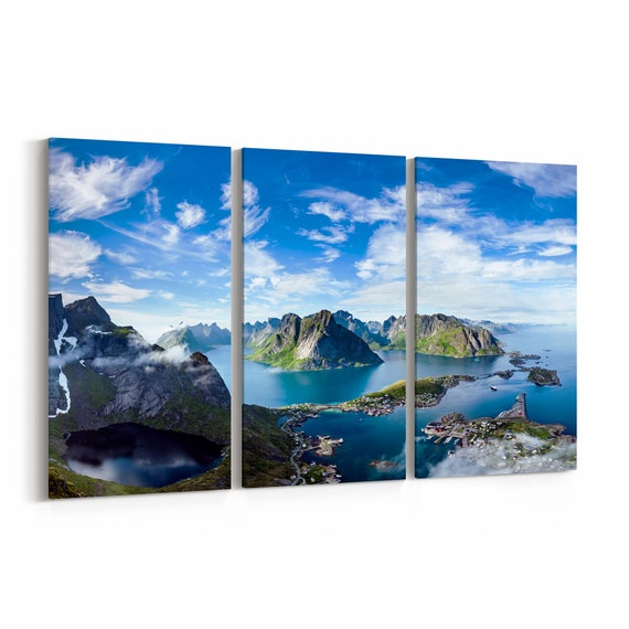Norway Mountains Canvas Print Norway Mountains Wall Art Canvas Lofoten Archipelago  Multiple Sizes Wrapped Canvas on Wooden Frame