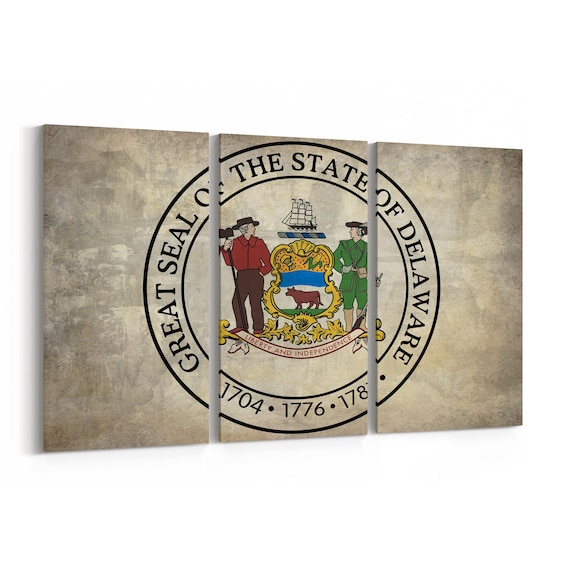 Delaware State Seal Wall Art Canvas Delaware State Seal Canvas Print Multiple Sizes Wrapped Canvas on Wooden Frame