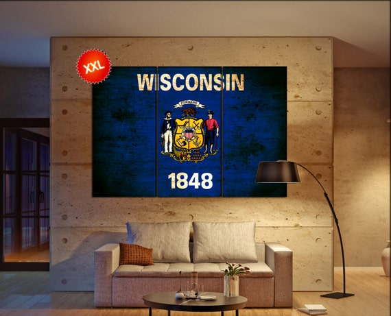 wisconsin state flag  canvas wisconsin state flag wall decoration wisconsin state flag canvas art wisconsin state flag large canvas