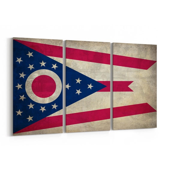 Ohio State Flag Canvas Print Ohio State Flag Wall Art Canvas Multiple Sizes Wrapped Canvas on Wooden Frame