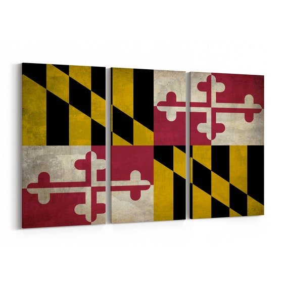 Maryland State Flag Canvas Print Maryland State Flag Wall Art Canvas Multiple Sizes Wrapped Canvas on Wooden Frame