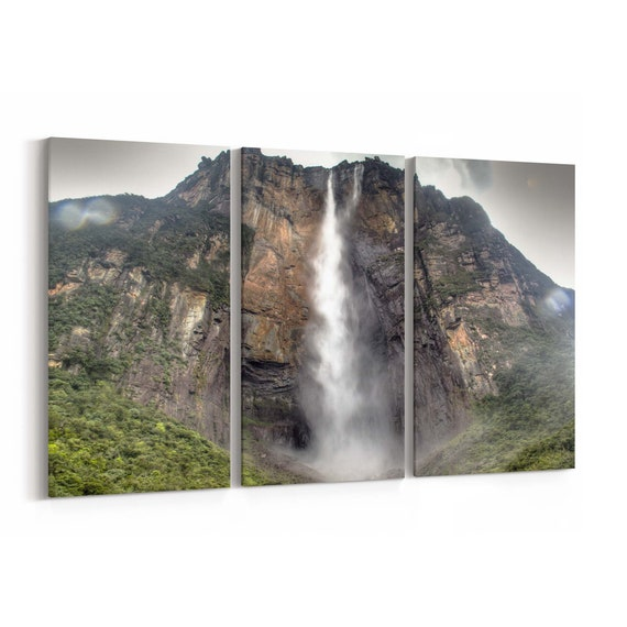 Salto Angel Waterfall Canvas Print National Park of Canaima Waterfall Wall Art Canvas Multiple Sizes Wrapped Canvas on Wooden Frame