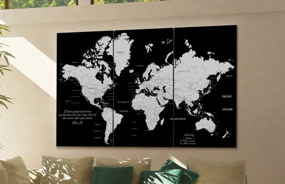 black world map, black push pin map,  black map of the world, personalized world map, custom world map, world map canvas