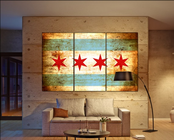 Chicago flag canvas wall art art print large  canvas wall art print flag of the city of Chicago Wall Home interior Office Decor