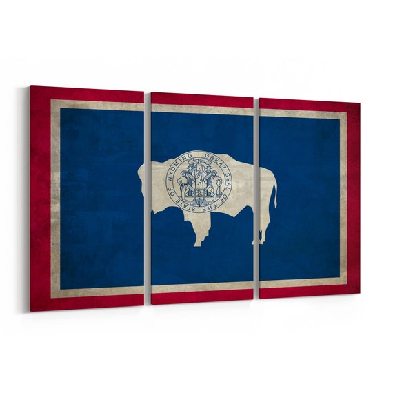 Wyoming State Flag Canvas Print Wyoming State Flag Wall Art Canvas Multiple Sizes Wrapped Canvas on Wooden Frame