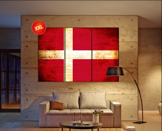 Denmark flag canvas wall art art print large  canvas wall art print Denmark country flag Wall Home office decor interior Office Decor