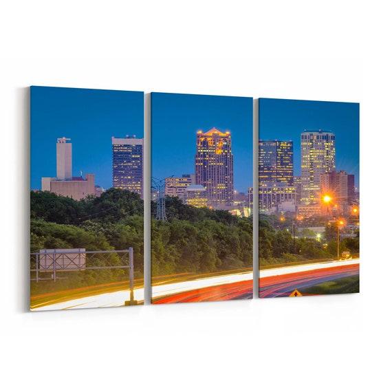 Birmingham Skyline Wall Art Canvas Birmingham Canvas Print Alabama Multiple Sizes Wrapped Canvas on Wooden Frame