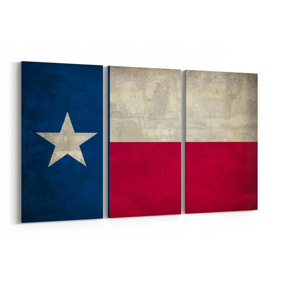 Texas State Flag Canvas Print Texas State Flag Wall Art Canvas Multiple Sizes Wrapped Canvas on Wooden Frame