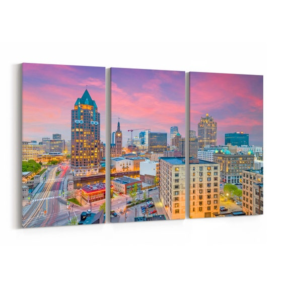 Milwaukee Canvas Print Milwaukee Wall Art Canvas Wisconsin Multiple Sizes Wrapped Canvas on Wooden Frame