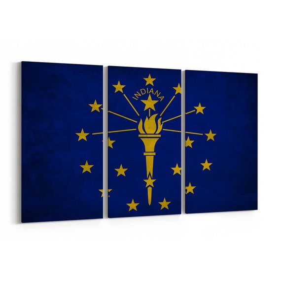 Indiana State Flag Canvas Print Indiana State Flag Wall Art Canvas Multiple Sizes Wrapped Canvas on Wooden Frame