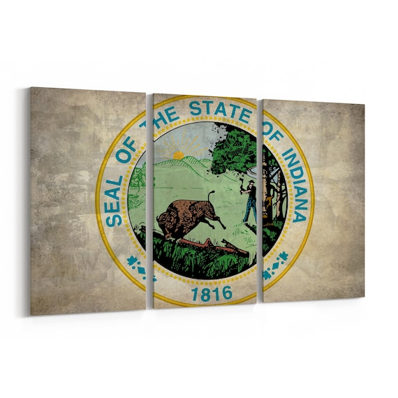 Indiana State Seal Wall Art Canvas Indiana State Seal Canvas Print Multiple Sizes Wrapped Canvas on Wooden Frame