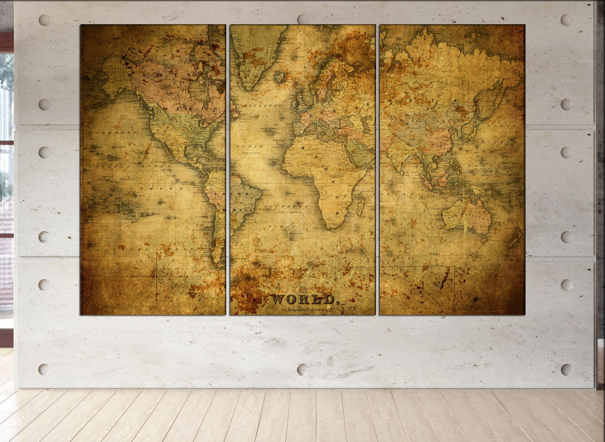 Old world map canvas wall art print on canvas wall art old world map old world map canvas wall art print on canvas wall art old world map historic map antique style world map art work artwork office decor gumiabroncs Image collections