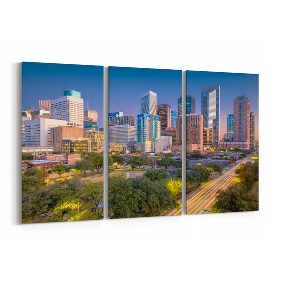 Houston Skyline Canvas Houston Canvas Wall Art Texas Multiple Sizes Wrapped Canvas on Wooden Frame