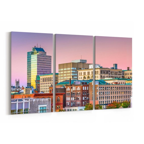 Worcester Skyline Wall Art Worcester Canvas Print Massachusetts Multiple Sizes Wrapped Canvas on Wooden Frame