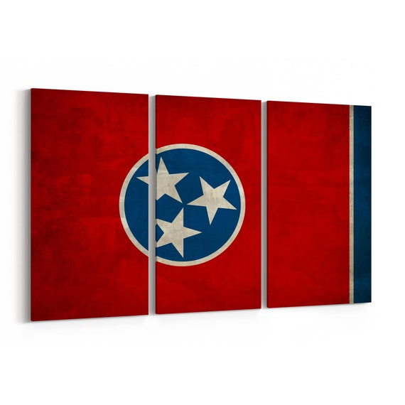 Tennessee State Flag Canvas Print Tennessee State Flag Wall Art Canvas Multiple Sizes Wrapped Canvas on Wooden Frame
