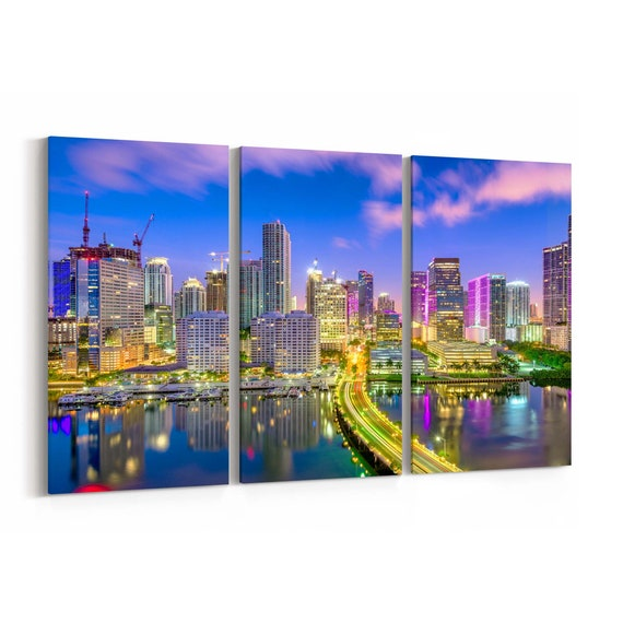 Miami Canvas Print Miami Wall Art Canvas Florida Multiple Sizes Wrapped Canvas on Wooden Frame