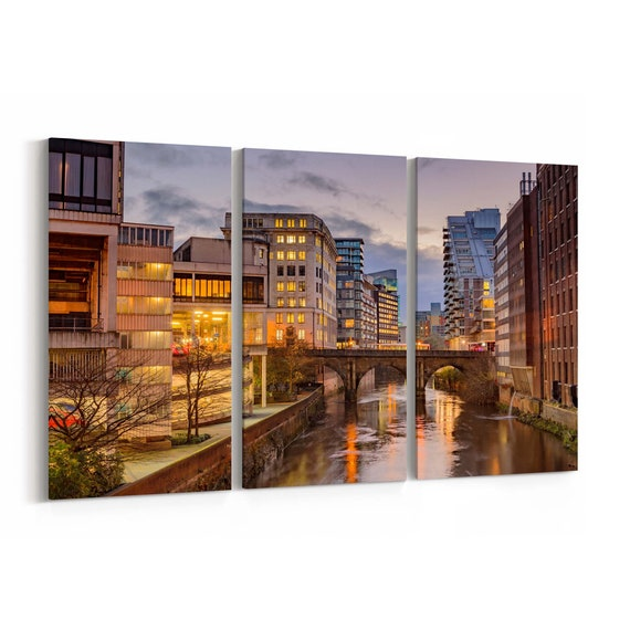 Manchester Skyline Wall Art Manchester Canvas Print Multiple Sizes Wrapped Canvas on Wooden Frame