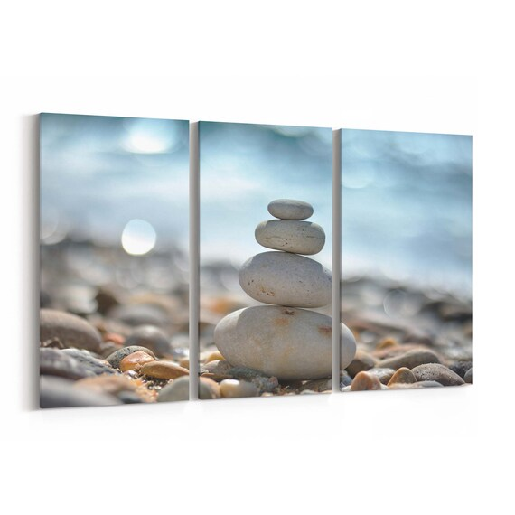 Zen Stones Wall Art Canvas Zen Stones Canvas Print Multiple Sizes Wrapped Canvas on Wooden Frame