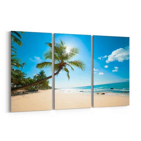 Beach Palmtree Canvas Print Beach Palmtree Canvas Art Multiple Sizes Wrapped Canvas on Wooden Frame