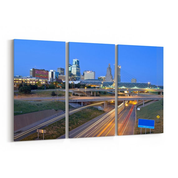 Kansas City Skyline Canvas Kansas City Canvas Wall Art Multiple Sizes Wrapped Canvas on Wooden Frame
