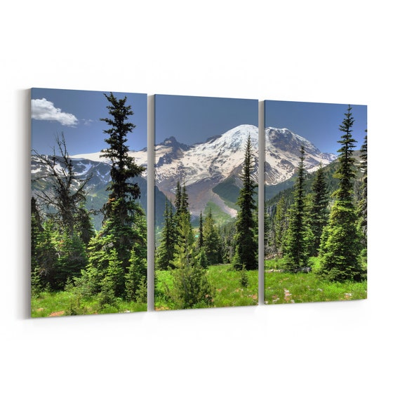 Mt Rainier Canvas Print Mt Rainier Wall Art Canvas Multiple Sizes Wrapped Canvas on Wooden Frame