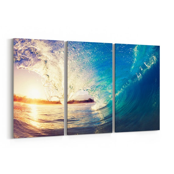 Ocean Wave Canvas Wall Art Ocean Wave Canvas Art Multiple Sizes Wrapped Canvas on Wooden Frame