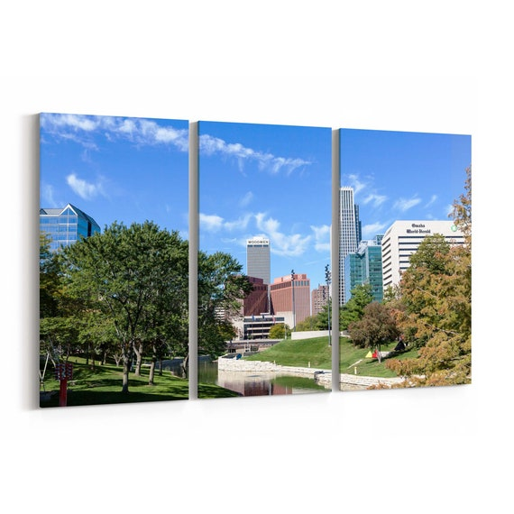 Omaha Skyline Wall Art Canvas Omaha Canvas Print Multiple Sizes Wrapped Canvas on Wooden Frame