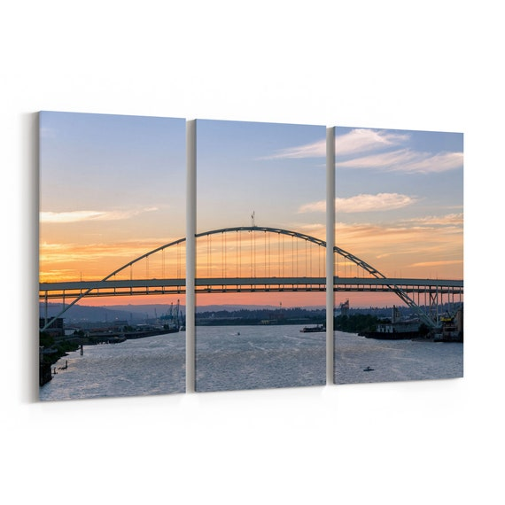 Fremont Bridge Skyline Wall Art Canvas Fremont Bridge Canvas Print Portland Multiple Sizes Wrapped Canvas on Wooden Frame