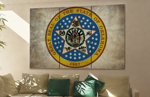 oklahoma seal flag  canvas oklahoma seal flag wall decoration oklahoma seal flag canvas art oklahoma seal flag large canvas