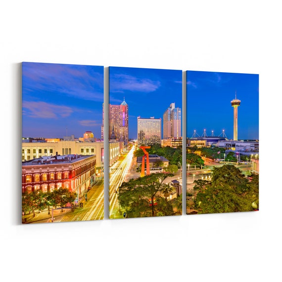 San Antonio Canvas Print San Antonio Wall Art Canvas Texas Multiple Sizes Wrapped Canvas on Wooden Frame