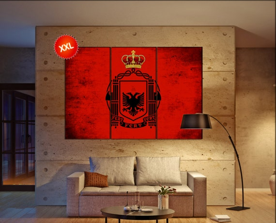 Albania flag canvas wall art art print large  canvas wall art print country flag Albania Wall Home office decor interior Office Decor