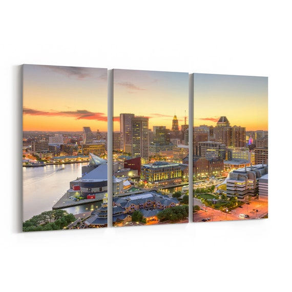 Baltimore Skyline Canvas Baltimore Canvas Print Maryland Multiple Sizes Wrapped Canvas on Wooden Frame