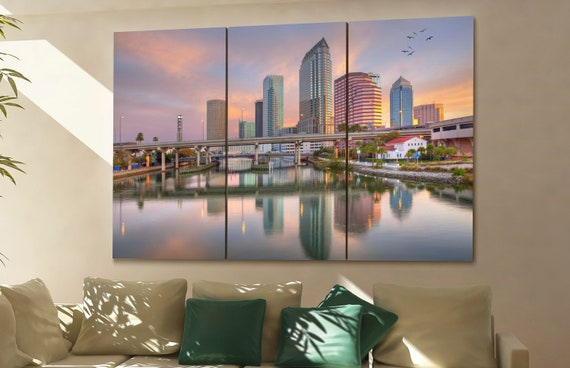 Tampa cityscape Tampa skyline Tampa wall art Tampa art Tampa downtown