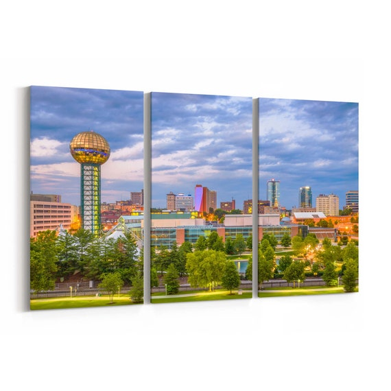 Knoxville Skyline Wall Art Knoxville Canvas Print Tennessee Multiple Sizes Wrapped Canvas on Wooden Frame