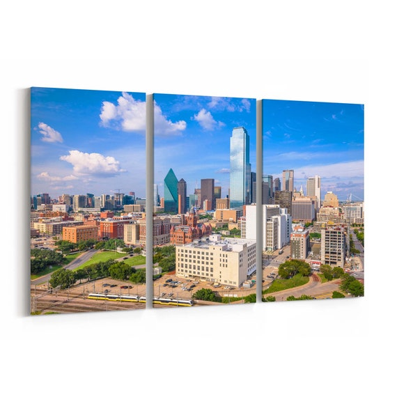 Dallas Skyline Wall Art Dallas Canvas Print Texas Multiple Sizes Wrapped Canvas on Wooden Frame