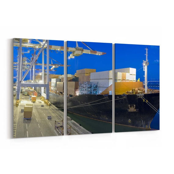 Cargo Ship Canvas Print Cargo Ship Wall Art Canvas Multiple Sizes Wrapped Canvas on Wooden Frame