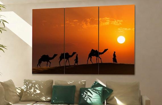 Camel desert  print  on canvas wall art camel drivers with camels photo art work framed art artwork
