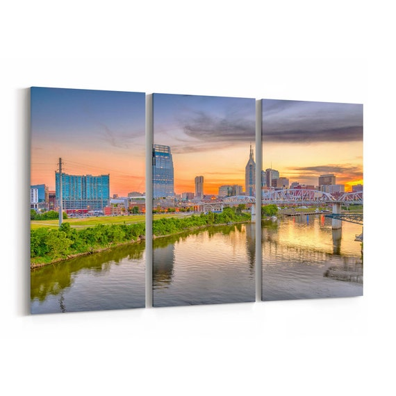 Nashville Canvas Art Nashville Wall Art Canvas Tennessee Multiple Sizes Wrapped Canvas on Wooden Frame