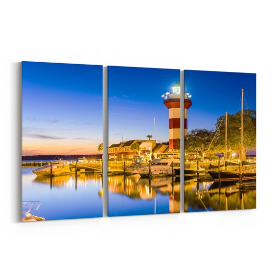 Hilton Head Skyline Wall Art Hilton Head Canvas Print South Carolina Multiple Sizes Wrapped Canvas on Wooden Frame